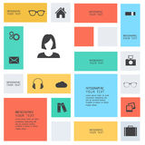 Modern flat icons. Collection with long shadow effect in stylish colors of web design objects, business, office and marketing items.  on white background Royalty Free Stock Photography