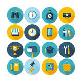 Modern flat icons  collection with long shadow effect. Royalty Free Stock Photo