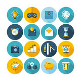 Modern flat icons  collection with long shadow effect. Royalty Free Stock Image