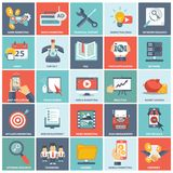 Business and management icon set for website development and mobile phone services and apps. Modern flat icons  collection in stylish colors of web design Royalty Free Stock Image