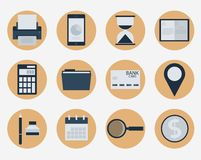 Modern flat icons  collection, web design objects, business, finance, office and marketing items. Stock Images