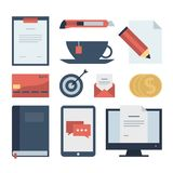 Modern flat icons  collection, web design objects, business, finance, office and marketing items. Modern flat icons  collection, web design objects, business Royalty Free Stock Photography