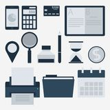 Modern flat icons  collection, web design objects, business, finance, office and marketing items. Stock Image