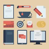 Modern flat icons  collection, web design objects, business, finance, office and marketing items. Stock Photo
