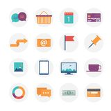 Modern flat icons  collection, web design objects, business, office and marketing items. Stock Photo