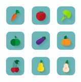 Modern flat icons a healthy lifestyle, proper Royalty Free Stock Photo