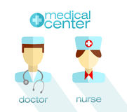Modern flat icons of nurse, doctor and medical center label. Stock Photo