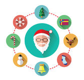 Modern flat icons of Santa claus and Christmas Day Royalty Free Stock Images