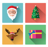 Modern flat icons of Santa claus and Christmas Day Royalty Free Stock Photography