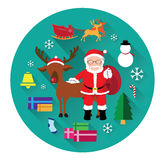 Modern flat icons of Santa claus and Christmas Day Royalty Free Stock Image