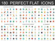 180 modern flat icons set of business analysis and motivation, essentials, startup development, e commerce and finance. Project icons Royalty Free Illustration