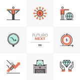 Angel Investor Futuro Next Icons. Modern flat icons set of business angel investor, crowd funding. Unique color flat graphics elements with stroke lines. Premium royalty free illustration