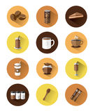 Modern flat icons set of Coffee Stock Photos