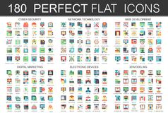 180 modern flat icons set of cyber security, network technology, web development, digital marketing, electronic devices. 3d modeling icons Vector Illustration