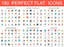 180 modern flat icons set. Of cyber security, network technology, web development, digital marketing, electronic devices, 3d modeling icons Vector Illustration