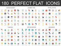 180 modern flat icons set of entertainment, summer time, travel cruise, camping, gps navigation and insurance icons. 180 modern flat icons set of entertainment Stock Images