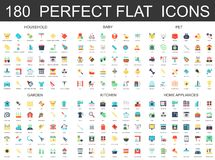 180 modern flat icons set of household, baby, pet, garden, kitchen, home appliances icons. 180 modern flat icons set of household, baby, pet, garden, kitchen royalty free illustration