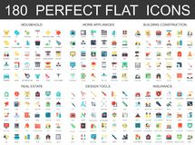 180 modern flat icons set of household, home appliances, building construction, real estate, design tools, insurance. Icons Stock Photos