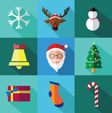 Modern flat icons set of Santa claus and Christmas Day with long shadow effect Royalty Free Stock Image