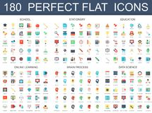 180 modern flat icons set of school, stationery, education, online learning, brain process, data science icons. 180 modern flat icons set of school, stationery Stock Photos