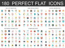 180 modern flat icons set of seo optimization, web development, digital marketing, network technology, cyber security. And productivity icons Royalty Free Stock Photography