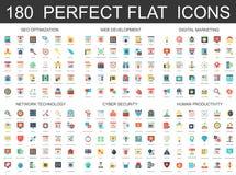 180 modern flat icons set of seo optimization, web development, digital marketing, network technology, cyber security. And productivity icons Vector Illustration