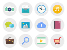 Modern flat icons set. Vector collection of modern icons in flat design on various theme. Isolated in gray circle on white background