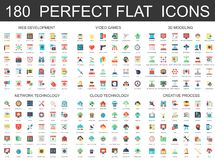 180 modern flat icons set of web development, video games, 3d modeling, network cloud technology, creative process icons.  Stock Image