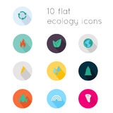 Modern flat icons vector collection with long shadow effect in s Stock Images