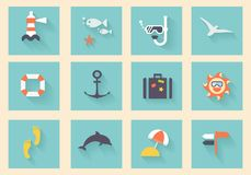 Modern flat icons vector collection. With long shadow effect in stylish colors of traveling, tourism and vacation theme. on white background royalty free illustration