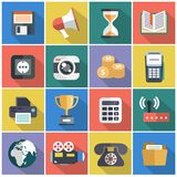 Modern flat icons vector collection with long shadow effect in stylish colors of web design objects, business, office. And marketing items Royalty Free Stock Photography