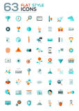Modern flat icons vector collection with long shadow effect. Modern flat icons vector collection in stylish colors of web design objects, business, office and Royalty Free Stock Images