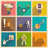 Modern  flat icons vector collection with shadow business economy graphic Royalty Free Stock Photo