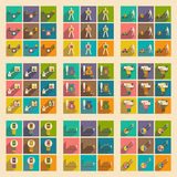 Modern  flat icons vector collection with shadow business economy graphic Stock Photo