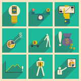 Modern  flat icons vector collection with shadow business economy graphic Royalty Free Stock Photos