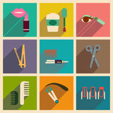 Modern flat icons vector collection with shadow cosmetics Royalty Free Stock Image