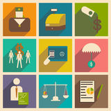 Modern  flat icons vector collection with shadow economy money business Royalty Free Stock Images