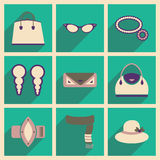 Modern flat icons vector collection with shadow fashion Royalty Free Stock Images
