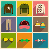 Modern flat icons vector collection with shadow Men Clothes Royalty Free Stock Image