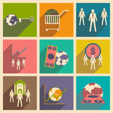 Modern  flat icons vector collection with shadow money economy workers Royalty Free Stock Photo