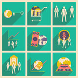 Modern  flat icons vector collection with shadow money economy workers Stock Photography