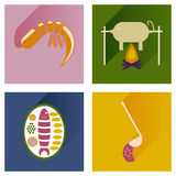 Modern flat icons vector collection with shadow restaurant meals Royalty Free Stock Photos