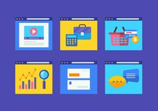 Modern flat icons vector collection in simple. Window browser of web business communication and financial item. Eps 10 Stock Photos
