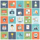 Business and management icon set for website development and mobile phone services and apps. Modern flat icons vector collection in stylish colors of web design Stock Photo