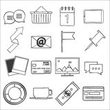 Modern flat icons vector collection, web design objects, business, office and marketing items. Stock Photography