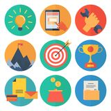 Modern flat icons vector collection, web design objects, business, office and marketing items Stock Photos