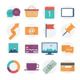 Modern flat icons vector collection, web design objects, business, office and marketing items. Royalty Free Stock Photography