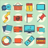 Modern flat icons vector collection, web design objects, business, office and marketing items. Stock Images