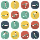 Modern flat icons vector set with long shadow effect in stylish colors of glute exercises and workouts. Circle vector icons of glu vector illustration