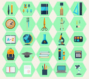 Modern flat icons of web design objects, business, office items Stock Images